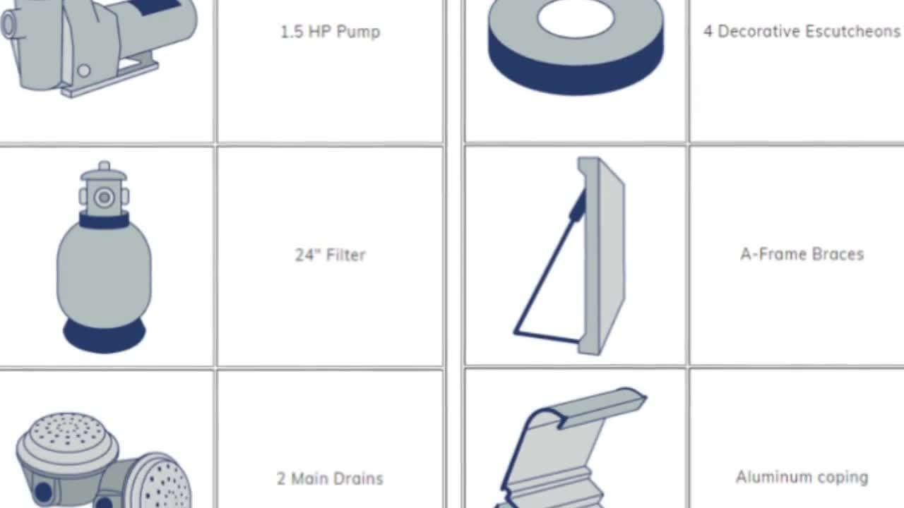 What is included in a vinyl swimming pool kit