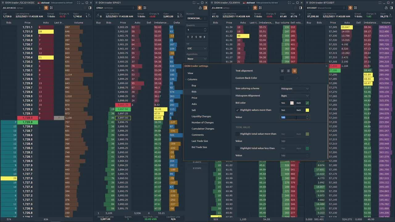 Quantower_DOM Trader - How to Setup Panel and Customize