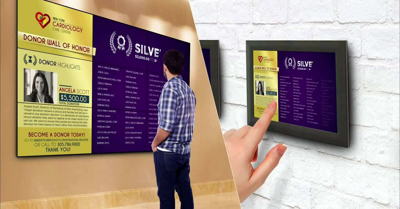 digital donor recognition wall vs digital picture plaques