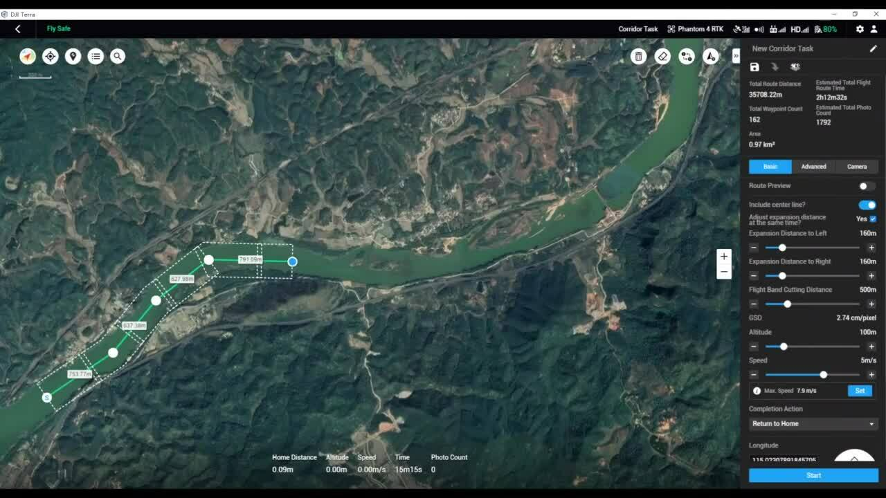 DJI Terra Corridor Mission Planning