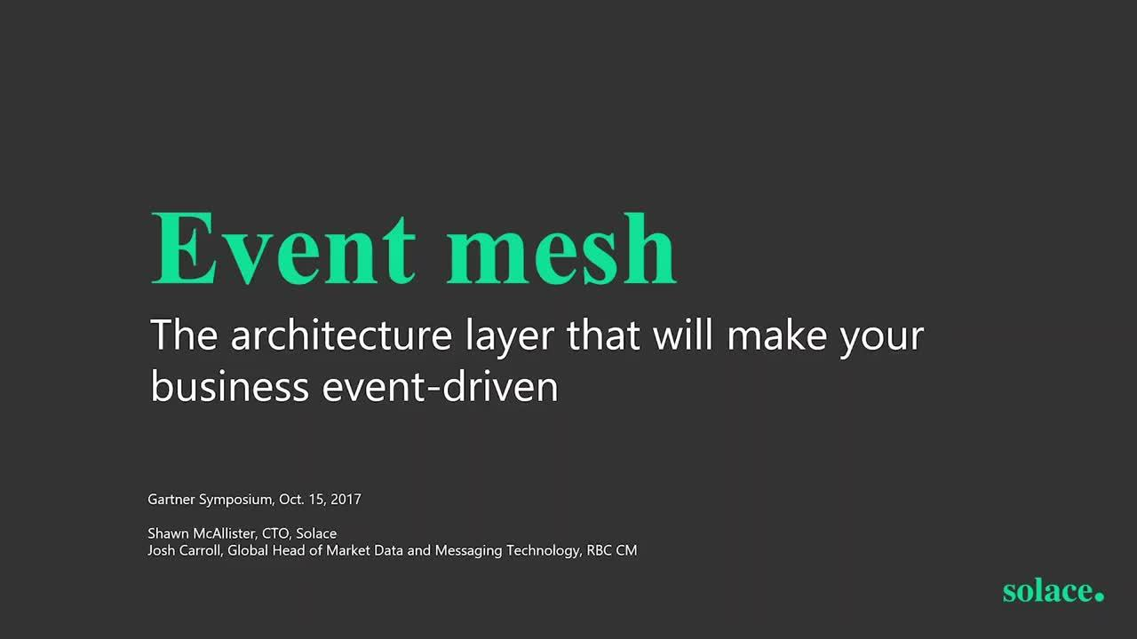 Gartner Symposium Presentation: Event Mesh: The Architecture Layer That Will Make Your Business Event-Driven