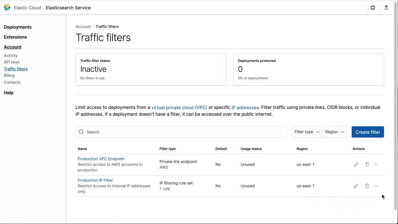 Using the Elastic Cloud console to apply private link traffic filter