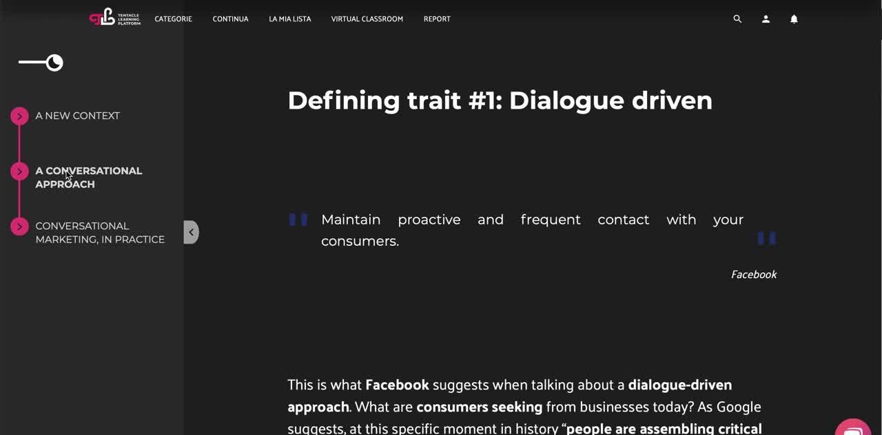 Tentacle Learning Platform - corso