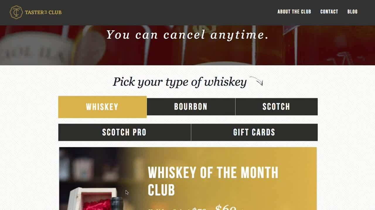 Tasters Club ( landing page example )