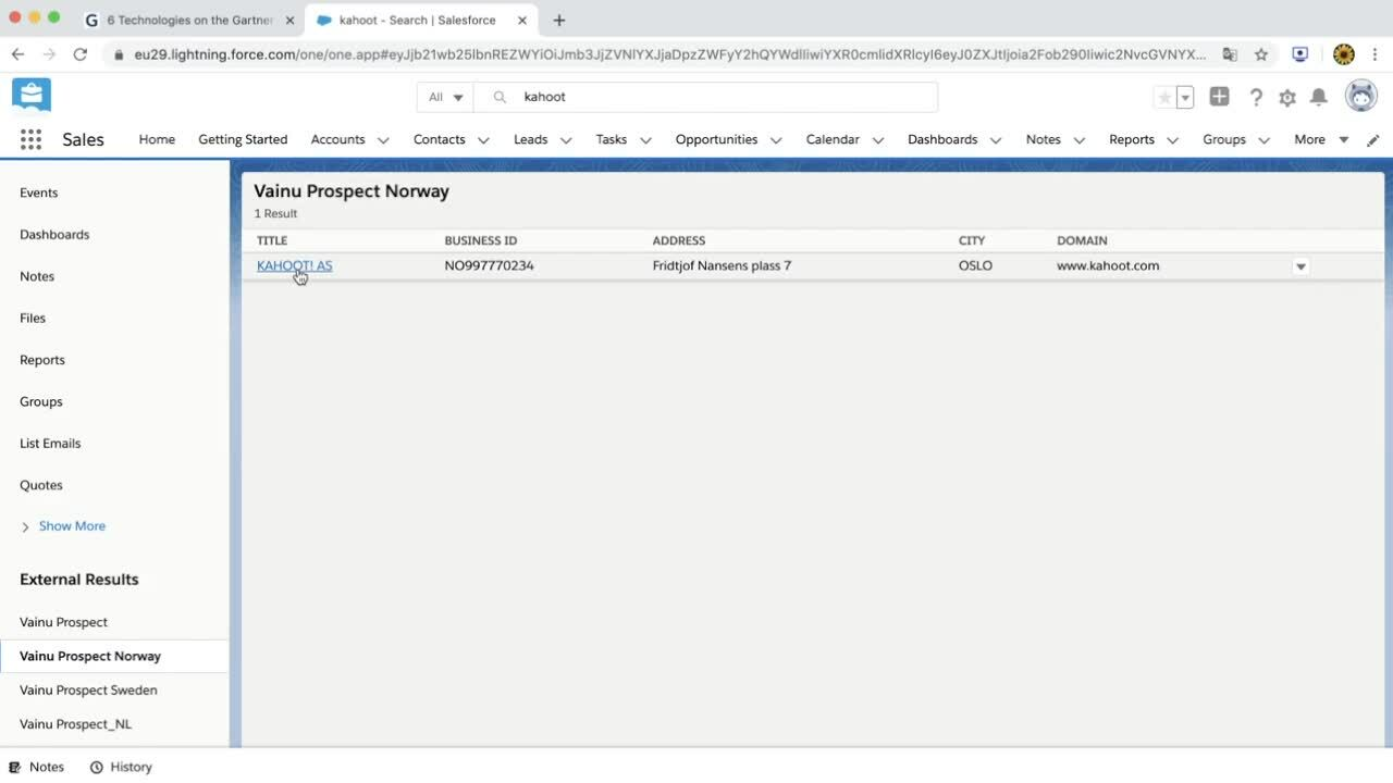 One-to-one search Salesforce