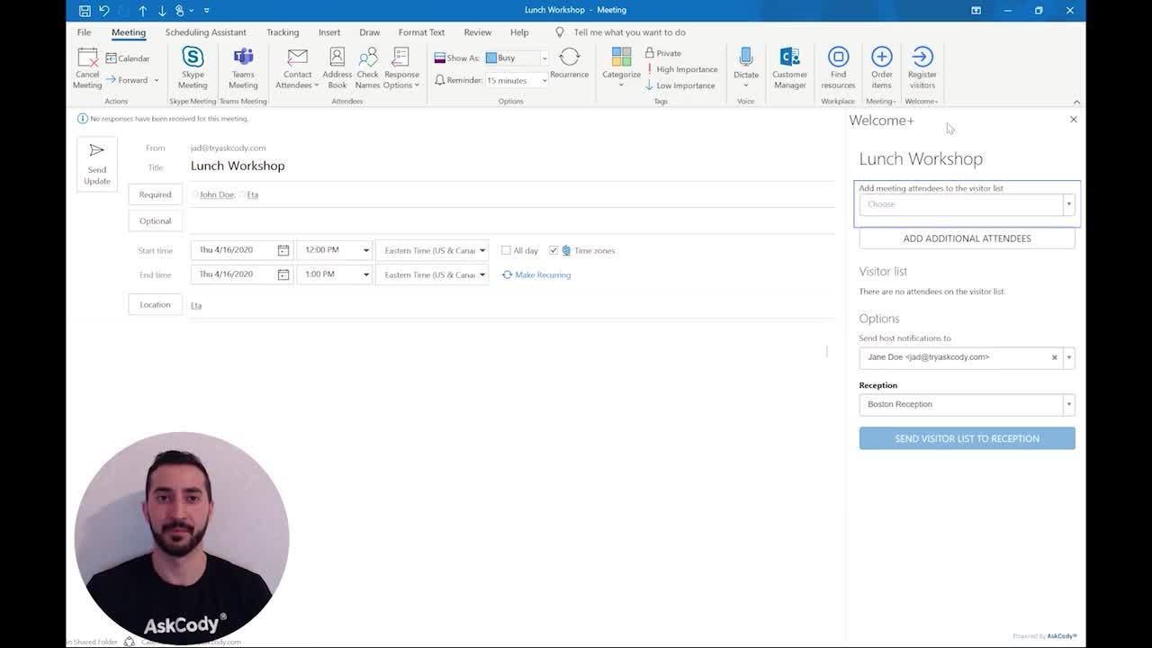 How to use the AskCody Visitor Management Add in for Outlook