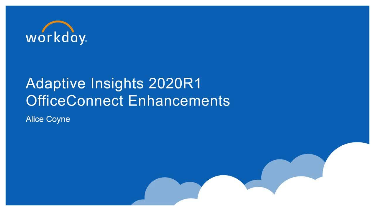 Adaptive Insights OfficeConnect - What's New 2020R1