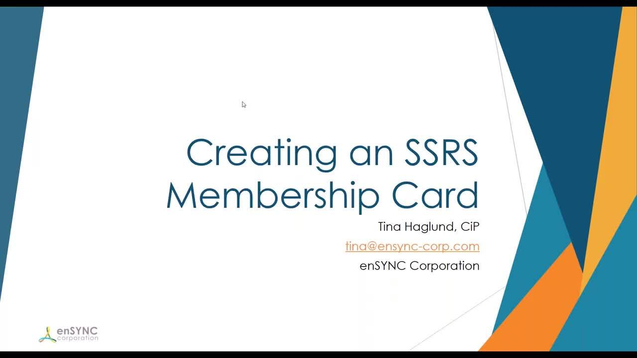 Using SSRS to Design a Member Card -  5 min