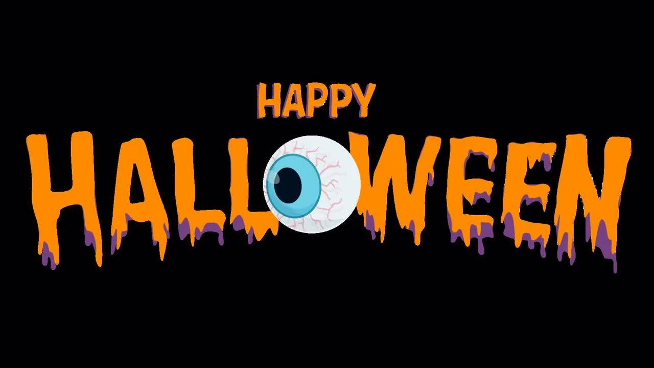 Happy Halloween Animation Text Eye Ball