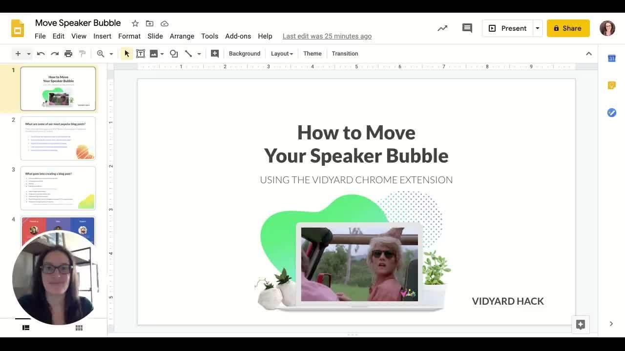 A Vidyard speaker bubble with a woman in it.