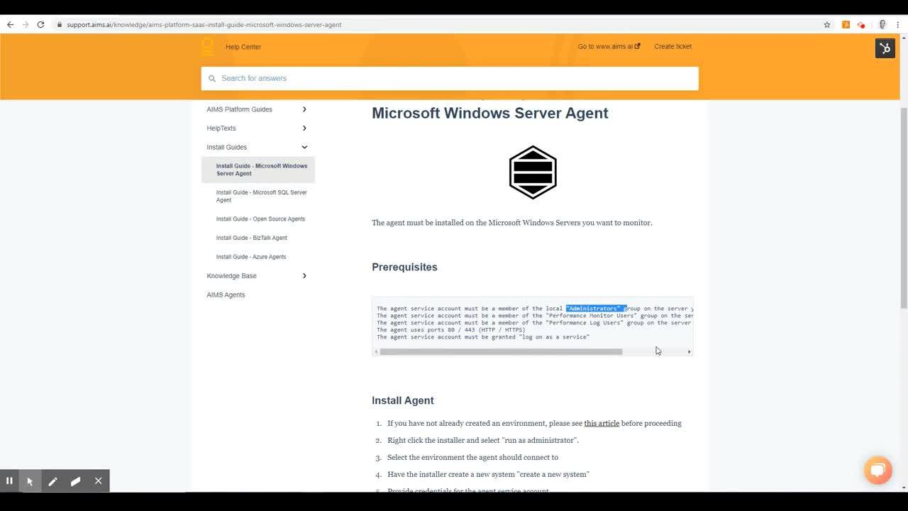 Creating an AIMS account and installing the first agent