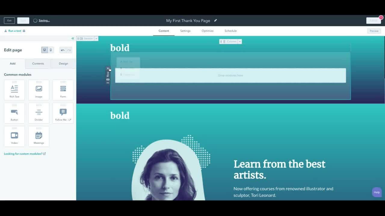 Landing Page Design - Create header