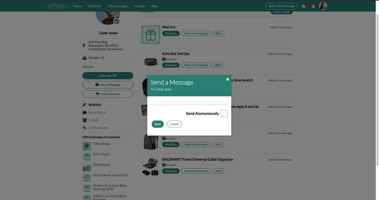 Web - Secret Q&A + Messaging