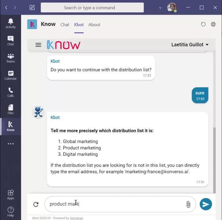 Kbot_ Add a user in a distribution list in Teams application (en)