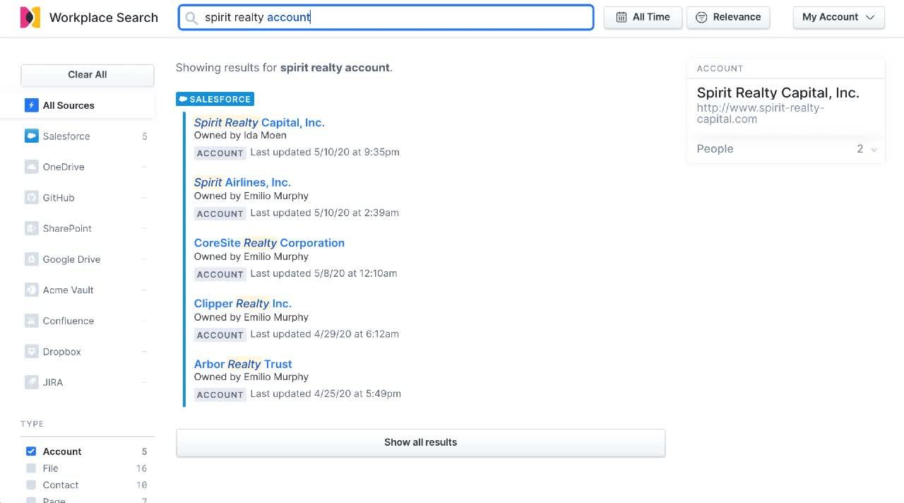 Searching for content in Salesforce