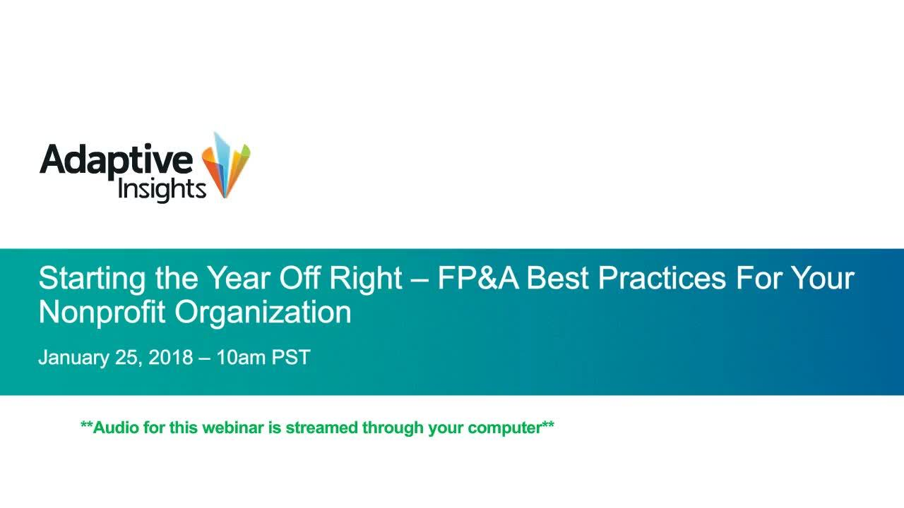 Screenshot for Starting the Year Off Right – FP&A Best Practices for Your Nonprofit Organization
