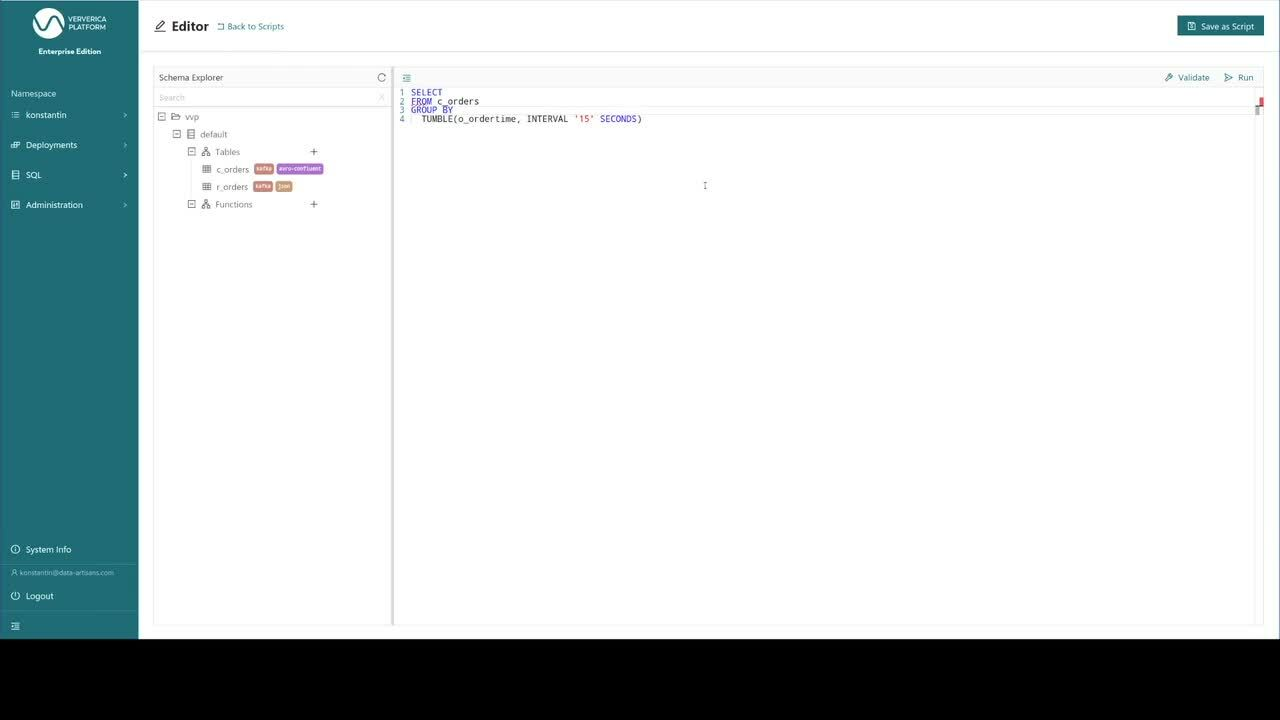 Ververica Platform, Flink SQL on Ververica Platform, SQL Editor