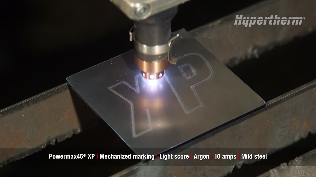 Powermax45 XP mechanized marking - light score using argon on mild steel