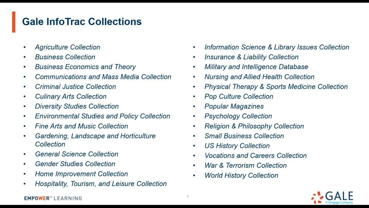 For NOVELNY: Gale's InfoTrac Collections Thumbnail